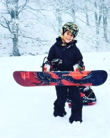 Louis, 9-years-old, with his first snowboard